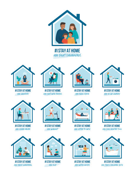 I stay at home awareness campaign and coronavirus prevention I stay at home awareness social media campaign and coronavirus prevention: people and families doing different activities and supporting the cause happy family stock illustrations