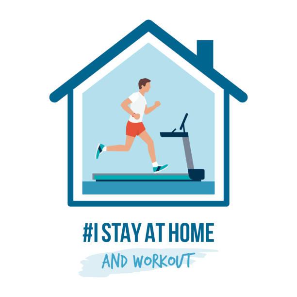 ilustraciones, imágenes clip art, dibujos animados e iconos de stock de me quedo en casa campaña de concienciación y prevención de coronavirus - stay home