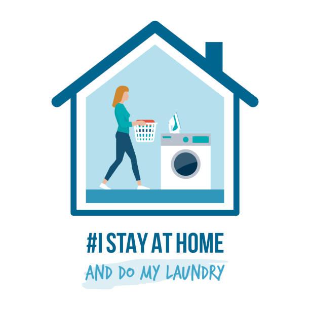 私は自宅の啓発キャンペーンとコロナウイルス予防に滞在します - 楽しい 洗濯点のイラスト素材/クリップアート素材/マンガ素材/アイコン素材