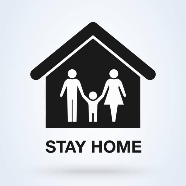 ilustraciones, imágenes clip art, dibujos animados e iconos de stock de me quedo en casa concientización de la campaña de medios sociales y prevención de coronavirus. covid-19, cartel motivacional de cuarentena. ilustración vectorial - stay home