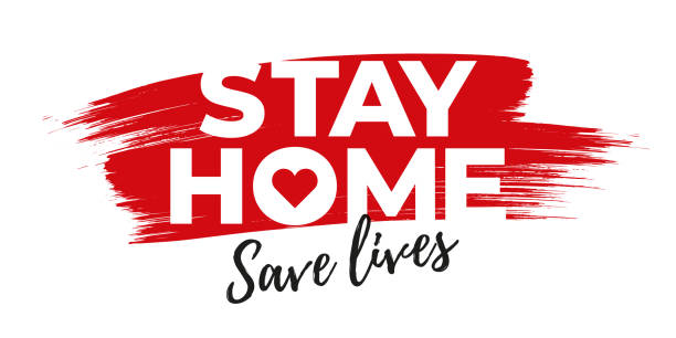 I stay at home awareness social media campaign and coronavirus prevention. vector art illustration