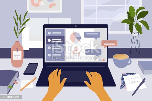Stay at home concept and online working, education or courses