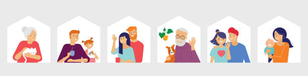 Stay at home, concept design. Different types of people, family, neighbors in their own houses. Self isolation, quarantine during the coronavirus outbreak. Vector flat style illustration vector art illustration