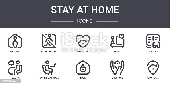 istock stay at home concept line icons set. contains icons usable for web, logo, ui/ux such as do not go out, make, reading, lock, stayhome, stayhome, reading, stayhome 1255424719