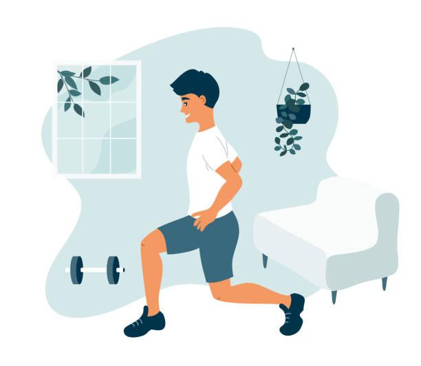 Stay at home concept, physical activity and healthy lifestyle – artystyczna grafika wektorowa