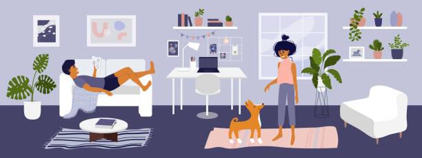 Stay at home concept with young couple in cozy interior – artystyczna grafika wektorowa