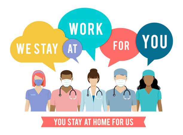 Stay At Home. Coronavirus and Covid-19 Doctors, nurses and medical staff ask people avoid Corona virus and Covid-19 spreading by staying at home. nurse stock illustrations