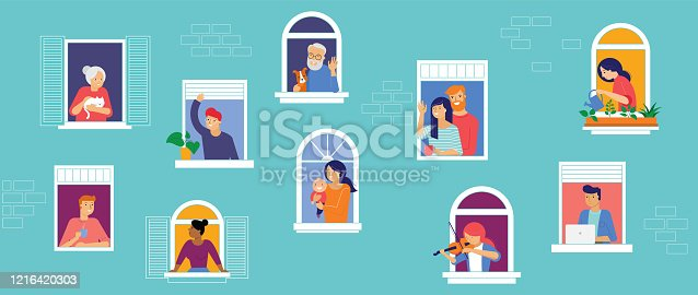 istock Stay at home, COVID-19 pandemic concept design. House facade with open windows. Different types of people looking out and communicating with their neighbors. Self isolation, quarantine during coronavirus outbreak. Vector flat style illustration 1216420303