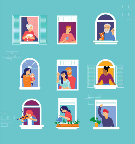 Stay at home, COVID-19 pandemic concept design. House facade with open windows. Different types of people looking out and communicating with their neighbors. Self isolation, quarantine during coronavirus outbreak. Vector flat style illustration vector art illustration