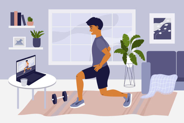 Stay at home, doing exercise online and keep fit – artystyczna grafika wektorowa