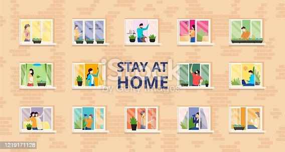 istock Stay at home, full people house vector illustration. Self isolation, social distance at residential building with open windows. 1219171128