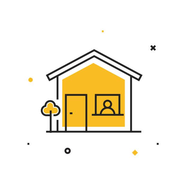 ilustraciones, imágenes clip art, dibujos animados e iconos de stock de quédate en el icono de casa. ilustración vectorial de concepto médico y de atención médica - stay home