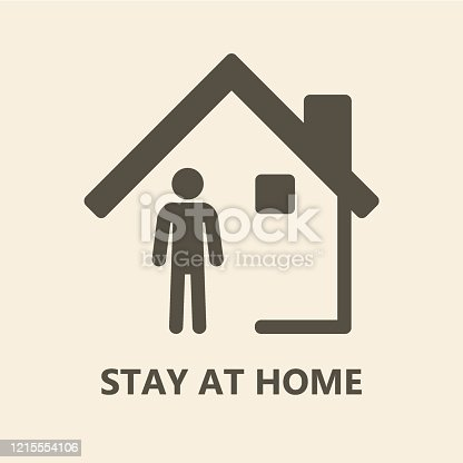 istock Stay at home icon sign 1215554106
