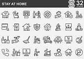 Stay At Home Line Icons