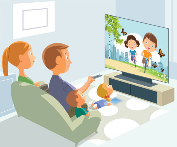 Stay at home. Parents and children in quarantine Vector Stay at home. Parents and children in quarantine family watching tv stock illustrations