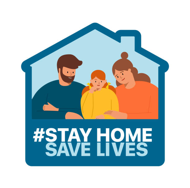 Stay at home, save the lives of the people of the coronavirus COVID-19 Stay at home, save the lives of the people of the coronavirus COVID-19. Family smiles and stay together at home illness prevention stock illustrations