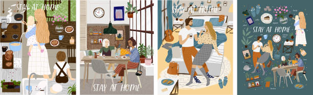 Stay at home! Set posters of Coronavirus quarantine, self isolation. Mother and kids cooking at kitchen, couple or family staying together comfort, safety. Vector illustration banner, card, postcard vector art illustration