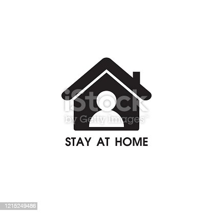 istock Stay at home sign. vector illustration on white background. 1215249486
