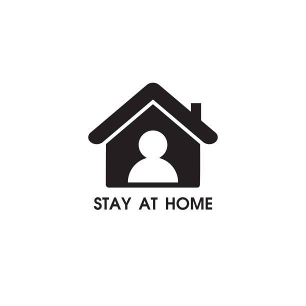 оставайтесь дома знак. векторная иллюстрация на белом фоне. - house stock illustrations