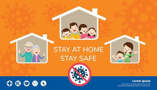 Stay At Home Stay Safe For Family Stock Illustration - Download ...