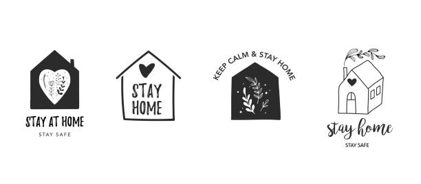 Stay at home, stay safe. Vector logos, illustrations and icons. Hand drawn motivation symbols vector art illustration