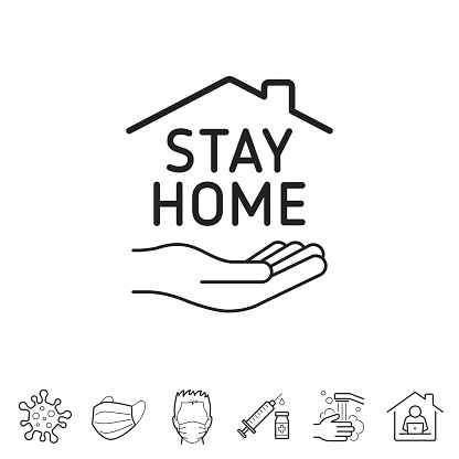 Stay at Home symbol. Line icon - Editable stroke