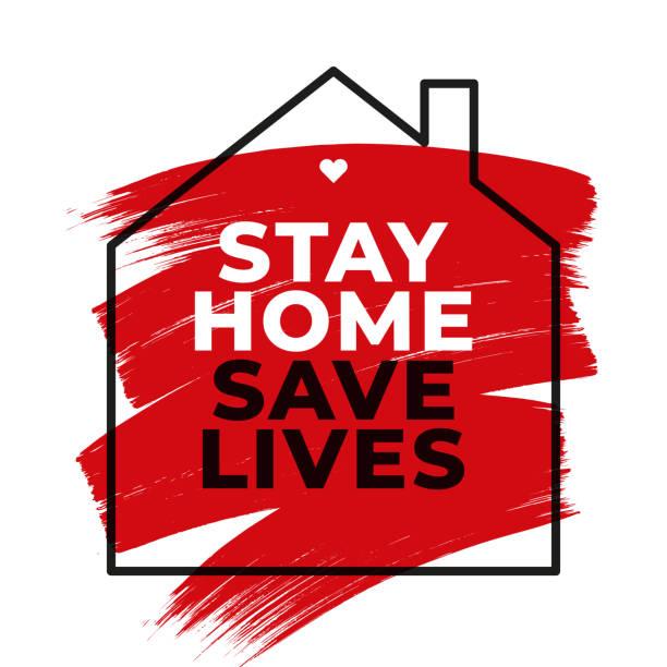 Stay at Home Symbol. vector art illustration