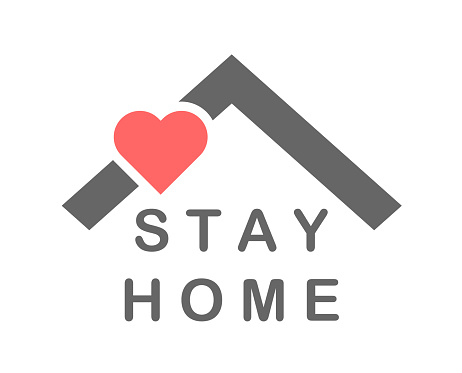 Stay at home text under house roof. Self isolation symbol protection against corona virus
