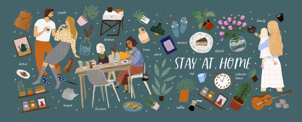 Stay at home! Vector cute illustration of Coronavirus quarantine, self isolation. Cozy interior furniture, family, couple, dishes, plant, isolated home objects set. Drawings for banner, card, postcard vector art illustration