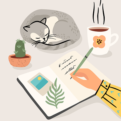 Stay at home. Woman writes a diary at home. Vector illustration.