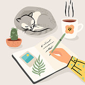 istock Stay at home. Woman writes a diary at home. Vector illustration. 1250419922