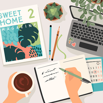 Stay at home. Woman writes in a diary, works at home. Vector illustration.