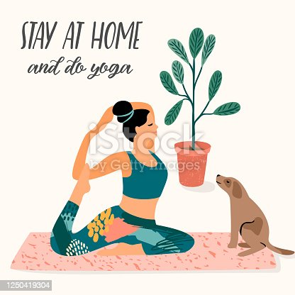 istock Stay at home. Young woman does yoga. Vector illustration. 1250419304