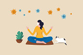 Stay calm at home by meditation or yoga in social distancing self isolation in COVID-19 Coronavirus outbreak lockdown concept, woman meditate and yoga at home to stay calm, COVID-19 virus around.