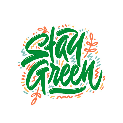 Stay green. Save earth and less waste concept. Hand drawn ecology lettering badge, eco friendly lifestyle poster, t shirt print, sticker emblem, banner, tote bag design.