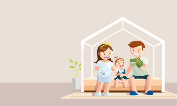 stay home banner. happy family staying at home during the coronavirus, covid-19 quarantine. vector in flat style - happy holidays stock illustrations