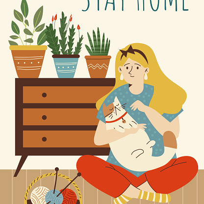 Stay home banner with woman having creative hobbies, flat vector illustration.