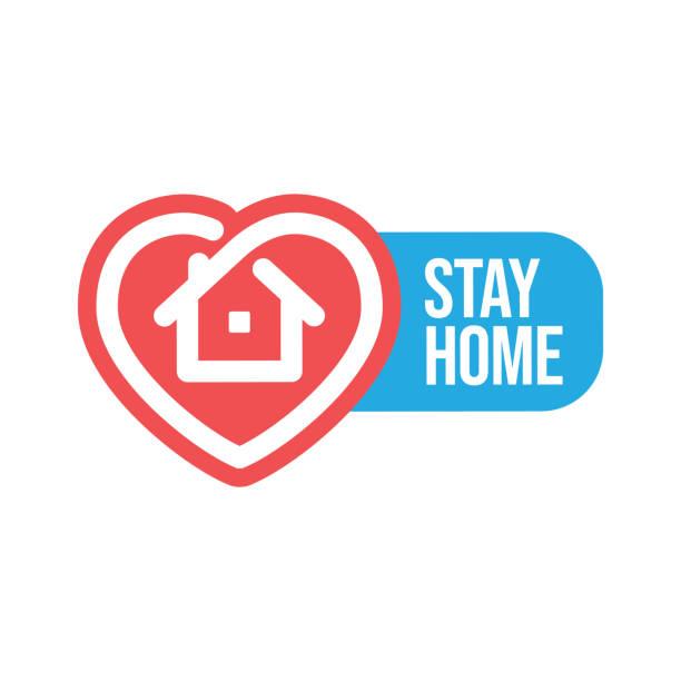 ilustraciones, imágenes clip art, dibujos animados e iconos de stock de insignia de campaña de estancia en casa - stay home