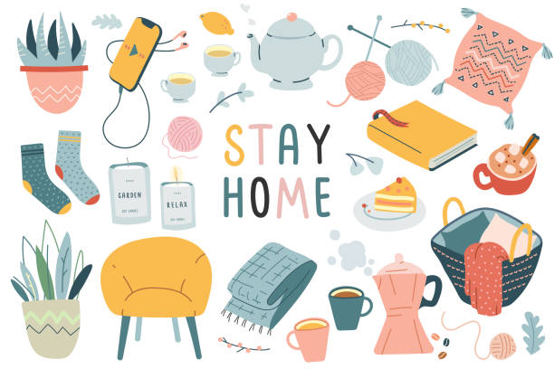 ilustrações de stock, clip art, desenhos animados e ícones de stay home collection, indoors activities, concept of comfort and coziness, set of isolated vector illustrations, scandinavian hygge style, isolation period at home - hygge