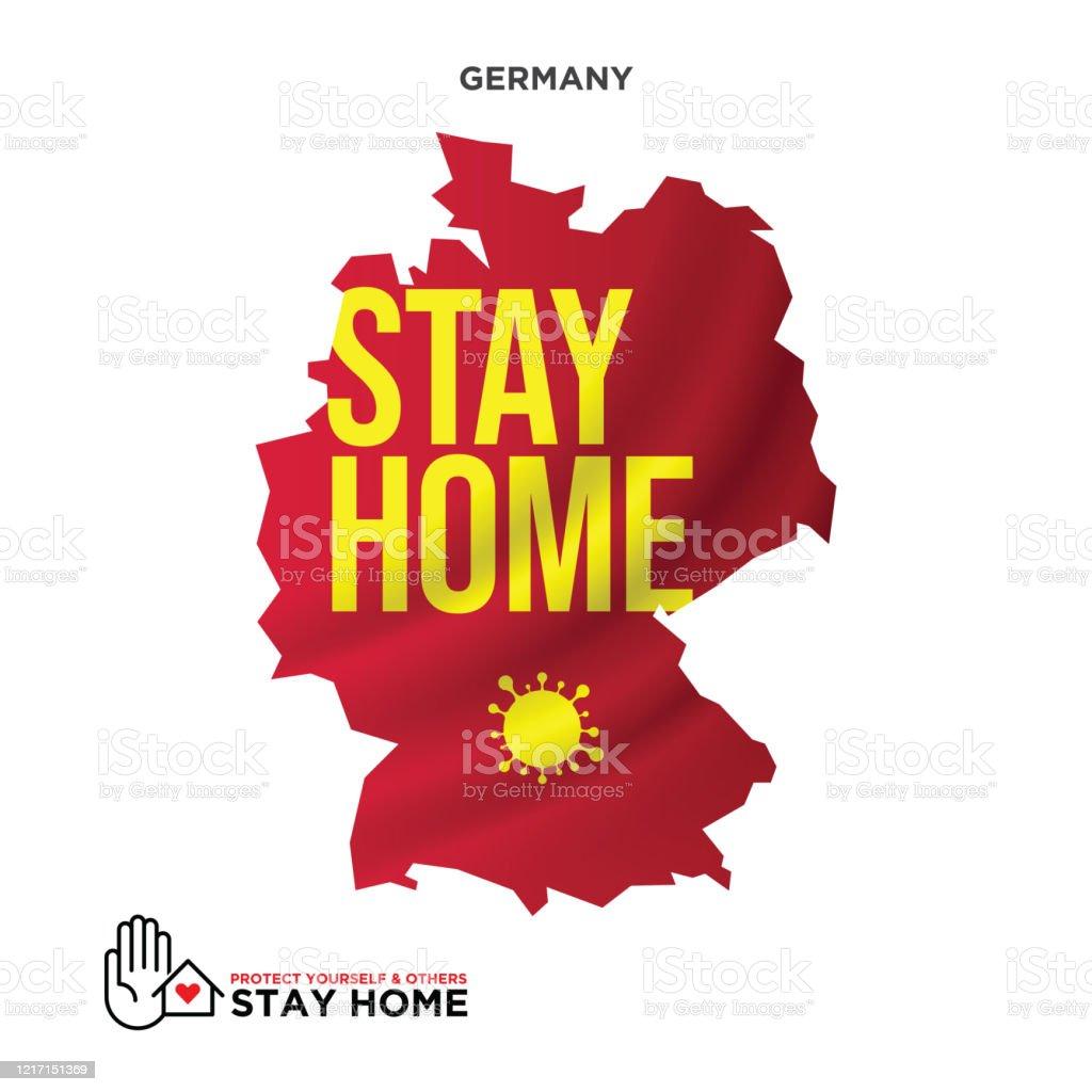 influenza karte deutschland Stay Home Concept Deutschland Karte Wuhan Coronavirus Ausbruch