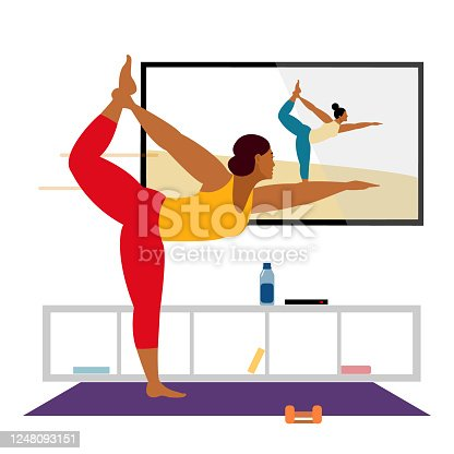 Stay home concept. Live stream, internet education. Female cartoon character practicing Hatha yoga. Woman doing workout indoor.Girl watching online classes on tv, practicing yoga, meditation.