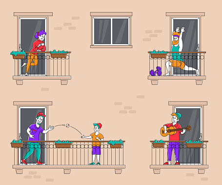 Stay Home Concept, People Characters on Balconies during Coronavirus Pandemic Isolation Quarantine. Neighbors in their Apartments Spend Time Exercising, Play Guitar, Relax. Linear Vector Illustration