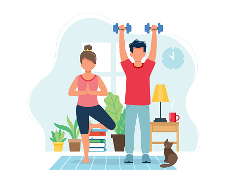 Stay home concept. People doing exercise in cozy modern interior. Vector illustration in flat style