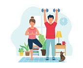 istock Stay home concept. People doing exercise in cozy modern interior. Vector illustration in flat style 1222178625