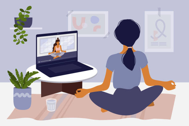 stay home concept with girl watching online classes on laptop and practicing yoga - meditating stock illustrations