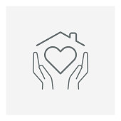istock Stay Home Concept,home love heart icon 1256284559