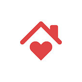 istock Stay Home Concept,home love heart icon 1272687883