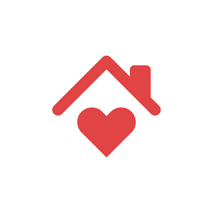 Stay Home Concept,home love heart icon
