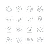 istock Stay Home Concept,home love heart icons 1256702383