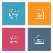 istock Stay Home Concept,home love heart icons 1259071913